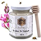 Miel blanc du Kirghizistan 140 G + 1 Cuillère en bois Naturel Biodégradable | 100 % naturel brut pur non filtré - Qualité Premium - Sans Conservateur