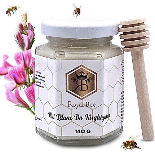 Miel blanca de Kirguistán 140 G 1 cuchara de madera ofrecida - 100% Natural y hecho a mano sin adición de colores o conservantes