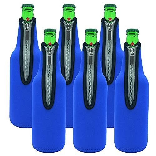 YeenGreen Bierflaschenkühler, 6 Stück 500 ML Reißverschluss Bierflaschenkühler, Bierkühler für Flaschen, Verwendet in Bars, Geburtstagsfeiern, Outdoor-Aktivitäten