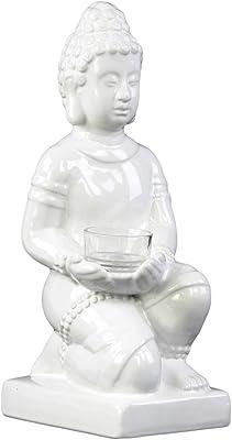 Urban Trends 46900 Ceramic Genuflecting Buddha Figurine with Rounded Ushnisha in Dhyana Mudra Holding a Basin Tealight Candle Holder Gloss Finish White