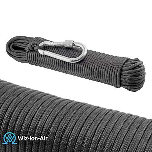 550 Paracord Seil aus reißfestem Nylon Schwarz 9 Stränge 31m lang 4mm dick 9Strang. Inklusive Stahl Karabiner Haken Zum Wandern,fischen,Outdoor Survival Seil order als Strickseil geeignet. (Schwarz)