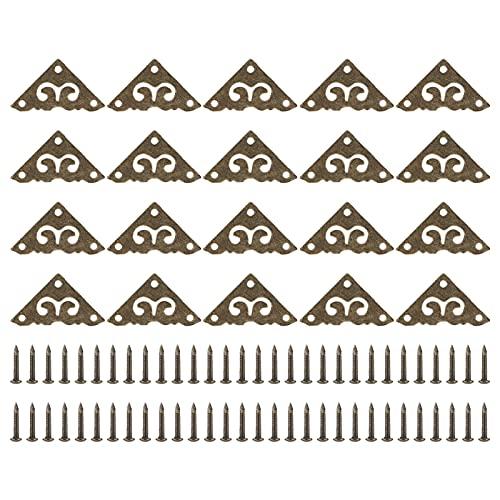Protector de esquina de caja de 20 piezas, mini escritorio de guardia de seguridad de borde antiguo, almohadilla de esquina hueca con forma de flor triangular de metal, cubierta de borde decorativo de