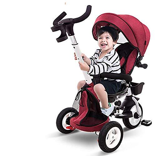 HKX Triciclo para niños, niños y niñas, Cochecito de bebé Plegable bidireccional con toldo, Bicicleta para niños de 2 a 5 años, Triciclo para niños
