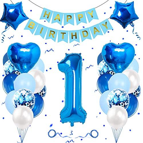 Geburtstagsdeko Jungen 1 Jahr, Luftballon 1. Geburtstag Junge Deko, Folienballon 1, Banydoll deko 1. geburtstag junge, Riesen Folienballon 1 Blau, Geburtstagsdeko 1 Jahr Junge Blau