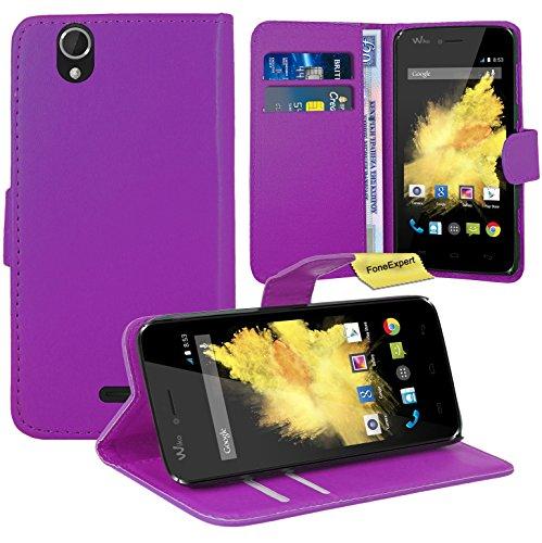FoneExpert® Wiko Birdy Handy Tasche, Wallet Hülle Flip Cover Hüllen Etui Ledertasche Lederhülle Premium Schutzhülle für Wiko Birdy (Lila)