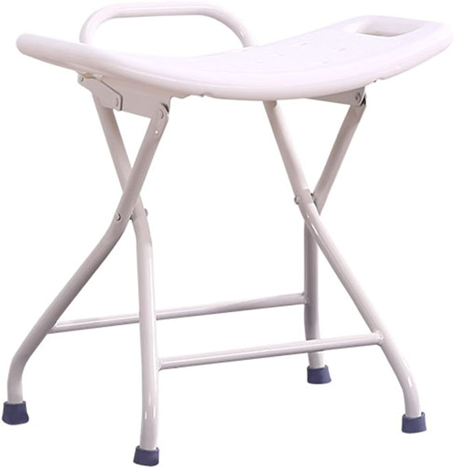 Home Folding Bathroom Stool Old Security Chair Plastic Adult Stool Antiskid Thicken Bathing Stool (color   White)
