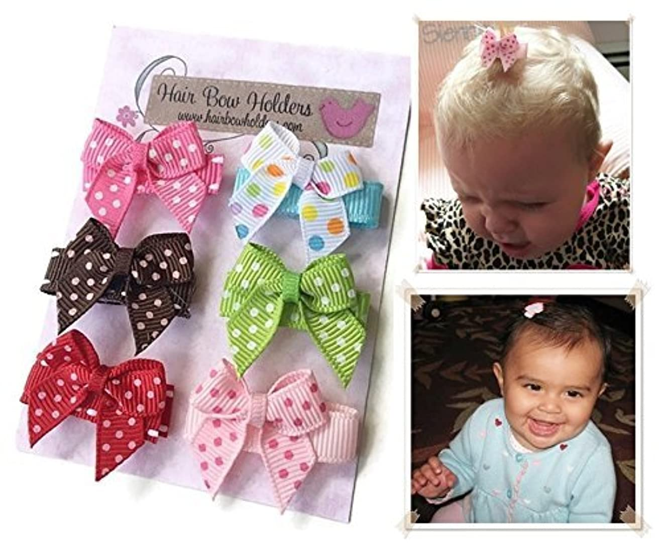 HAIR BOWS Made with VELCRO? brand fasteners for Baby Girl - BEST BABY SHOWER GIFT - Small Mini Traditional Hair bows Polka dots pink brown red green colorful HairBows for Newborns