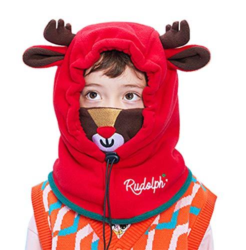 Tyidalin Pasamontañas infantil de invierno para niña, de forro polar, con capucha rojo...