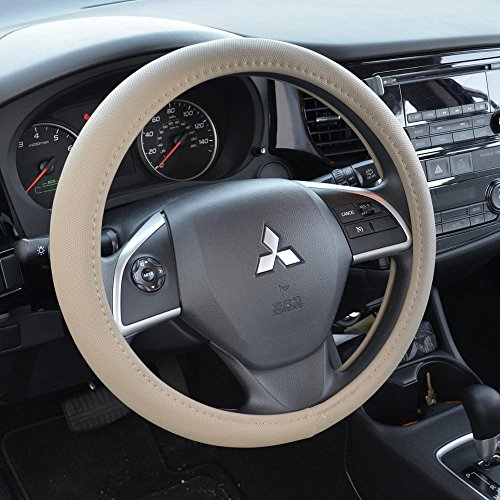 BDK Ergonomic Soft Grip Steering Wheel Cover - Sporty Leather Grip for Standard Size Wheels 14.5-15.5' (Beige)
