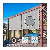 GDMING Außen Rollos Zum Terrasse 95% UV-Schutz Durchlässig Sichtschutzrollo Dekorationszaun Polyester Vorhang Jalousie Garten Pavillon Überdachung,44 Größen (Color : Gray, Size : 100x160cm)