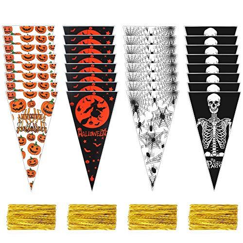 Fulushou Halloween Süßigkeiten Tüten 200 Stück Halloween Cellophanbeutel OPP Plastiktüten Kegel Taschen mit Gold Bindestreifen für Bonbons Kekse Schokolade