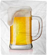 Golee Throw Blanket Brown Foam Glass of Beer on Yellow Alcohol Bar Beverage 50x60 Inches Warm Fuzzy Soft Blanket for Bed Sofa