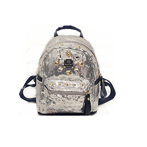 Hollwald® haute qualité rétro Rock paillettes Style Fashion Casual Mini Ladies sac à bandoulière cartable de sac à dos sac sacs à main mode nouveau (Silver)