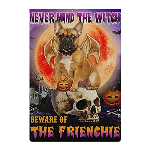 12x18 Inch Halloween Flag Beware Of The Frenchie Garden Flag; Double Sided Burlap Yard Flag House Flags; Halloween Decoration Home Flag For Patio Lawn Farmyard