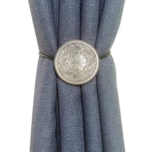 Vineland Boho Magnetische Vorhang-Raffhalter, 2er-Pack, 40,6 cm Seilhalterung, Metallic, dekorative Halterung, praktische Raffhalter für Fenster, Gardinen, Duschvorhänge 2 Pack silber