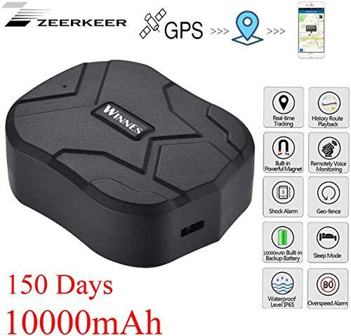Zeerkeer GPS Tracker, Localizador GPS para Coche Impermeable Tiempo Real Antirrobo Fuerte imán Rastreador GPS App Gratuita para Seguimiento vehículo 10000 mAh