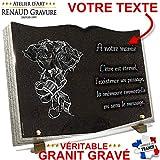 Plaque funéraire Livre en Granit gravé Personnalisable + Bouquet de Roses, Fleurs 35 x 25 x 2 cm