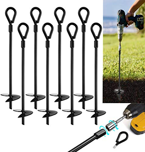 """VASGOR 15"""" Ground Anchors (8pcs) Easy to Use with Drill, 10mm Diameter, Heavy Duty Anchor Hook for Camping Tent, Canopies, Car Ports, Sheds, Swing Sets, Securing Animals – Black Powder Coated"""