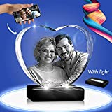 3D Crystal Photo - 3D Crystal Picture Engraved Heart, Personalized & Custom Heart Crystal with Free LED Base, Memorable Gift, and Keepsake, Small