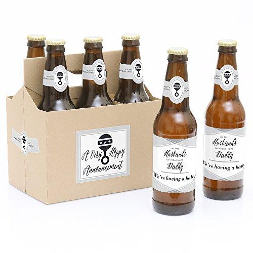 Ehemänner zu Daddy–6Schwangerschaft Ankündigung Bier Flasche Etiketten mit 1Bier Carrier