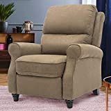 GOOD & GRACIOUS Recliner Chair,Modern Reclining Sofa with Roll Arm Pushback Manual Recliner Heavy Duty Single Sofa for Bedroom/Living Room,Brown
