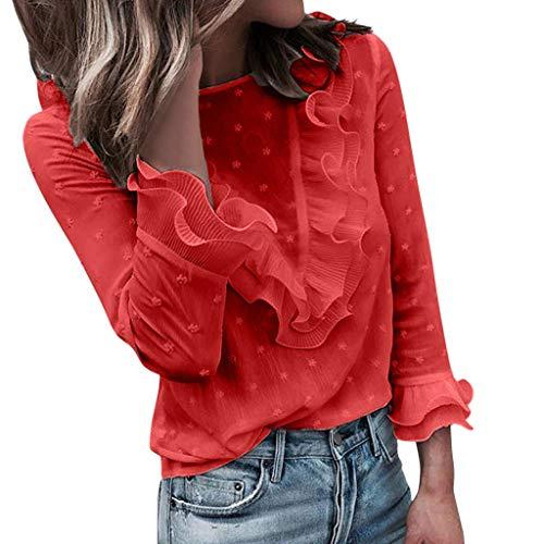 MERICAL Camicia Donna Elegante Camicetta da Donna a Maniche Lunghe in t-Shirt a Maniche Lunghe in Pizzo a Pois Casual da Donna(Rosso,Small)