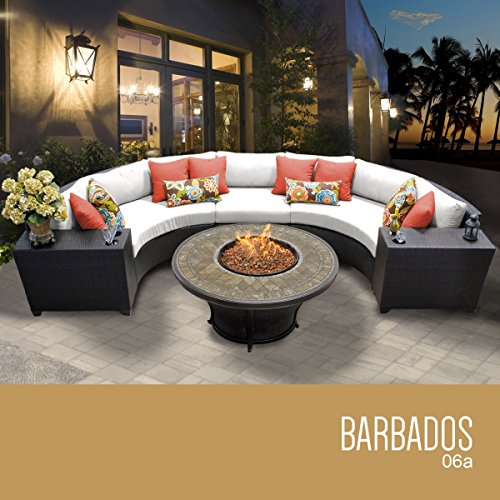 Great Features Of TK Classicss Barbados 6-Piece Patio Wicker Fire Pit Sectional Set 06a in White
