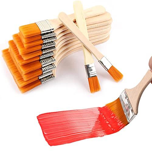 Sdoowes 12 pinceles planos profesionales con mango de madera de nailon, en diferentes tamaños para pintura, decapante, barniz y pegamento