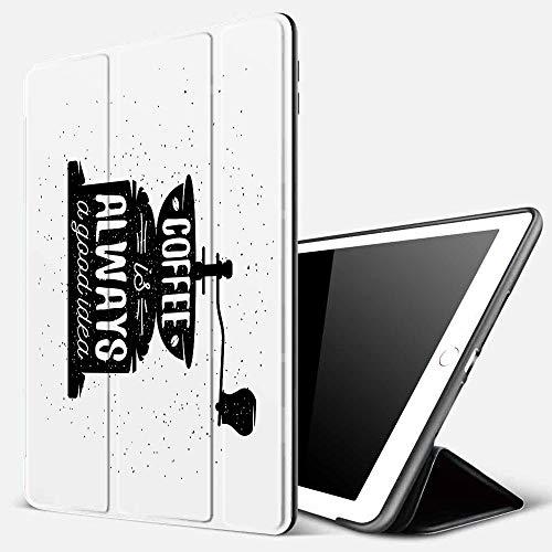 iPad 7 Hülle für iPad 10.2 2019,Zitat, Kaffeemaschine Silhouette mit Kaffee ist Immer eine Gute Idee Grungy Typo,Ultradünne Soft TPU Rückseite Abdeckung Schutzhülle mit,Automatischem Schlaf/Aufwach,
