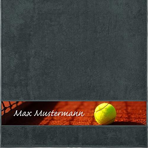 Manutextur Duschtuch mit Namen - personalisiert - Motiv Sport - Tennis - viele Farben & Motive - Dusch-Handtuch - anthrazit - Größe 70x140 cm - persönliches Geschenk mit Wunsch-Motiv und Wunsch-Name