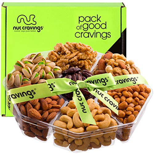 Nut Gift Basket + Green Ribbon (7 Piece Assortment, 2 LB) - Prime Arrangement Platter, Birthday Care Package Variety, Healthy Food Tray, Kosher Snack Box for Families, Women, Men, Adults