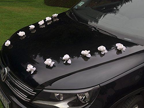 Rosas para la decoración del boda coches con ventosas (10unidades), color blanco