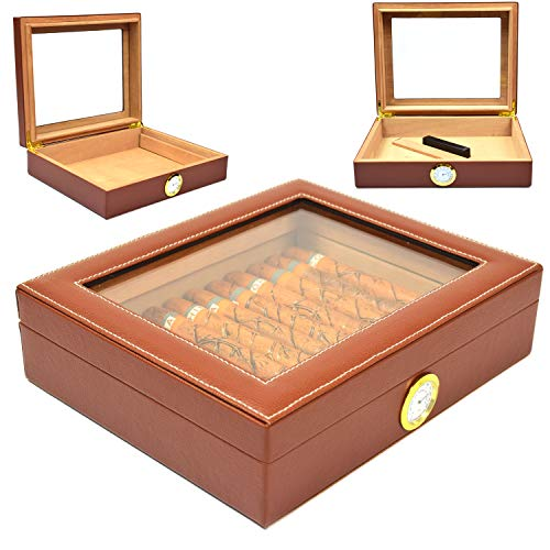 Cigar Humidor Box, Cedar Cigar Storage Case Cover with Faux Leather Hygrometer and Rectangle Humidifier Holds 25-35 Cigars