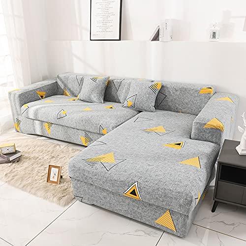 Funda de sofá elástica Funda de algodón para sofá Fundas de sofá para Sala de Estar (Debe Pedir 2 Piezas) para Adaptarse al sofá de Esquina A19 de 4 plazas
