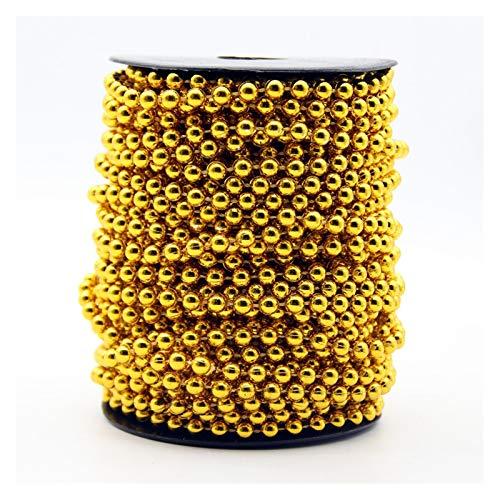 MURUI QZX1 5meter 6mm imitación Perlas Perlas Oro Plata joyería Redonda artesanía Coja línea Cadena Colgante para la decoración de la Fiesta de Bodas de Bricolaje Yc0416 (Color : Gold)