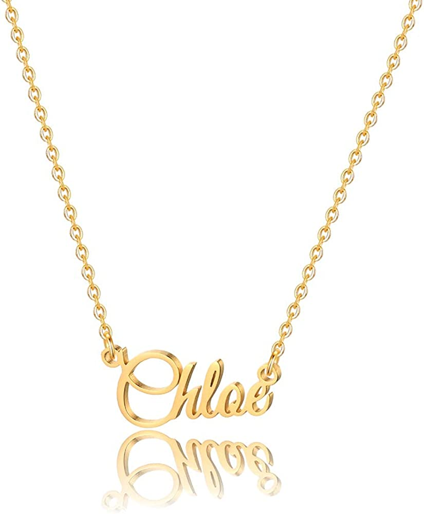 MONOOC Custom Name Necklace Personalized 14K Seattle Mall Recommendation Gold Person Plated