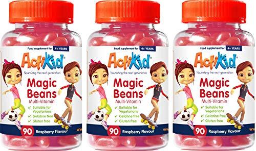Special Deal 3X ActiKid Magic Beans Multi-Vitamin 90x Raspberry Flavour, No Gelatine, Children's multivitamins, Immunity Boost