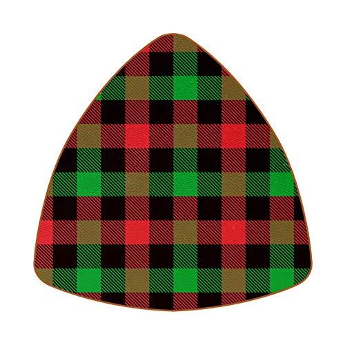 Juego de 6 posavasos para bebidas con diseño de cuadros navideños, color rojo, negro, verde