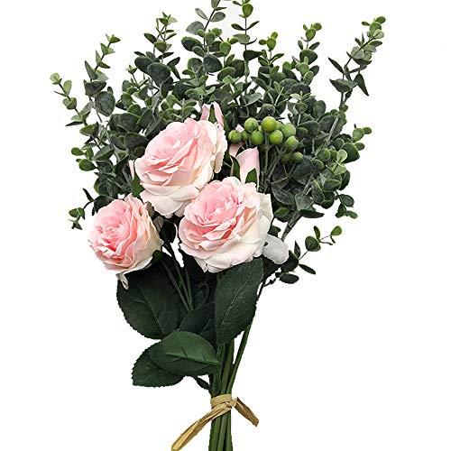 Aisamco Ramo Artificial Flores Surtidas Ramas de Eucalipto Rosa Falsa Bayas Artificiales 46cm de Altura para Mesa Decoración de Oficina en Casa Boda Arreglo Floral Dama de Honor Ramo de Novia