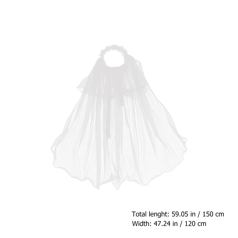 Minkissy 1pc Communion Veils for Girls, Communion Veils Headband with Bow Short Bridal Wedding Veil for Birthday Banquet Party