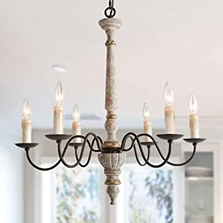 """LALUZ Handmade Wood Chandelier, 6-Light French Country Chandelier for Dining Room, Bedroom, Living Room, Rust Finish with Metal Arms, 27.2""""H x 25.2""""L"""