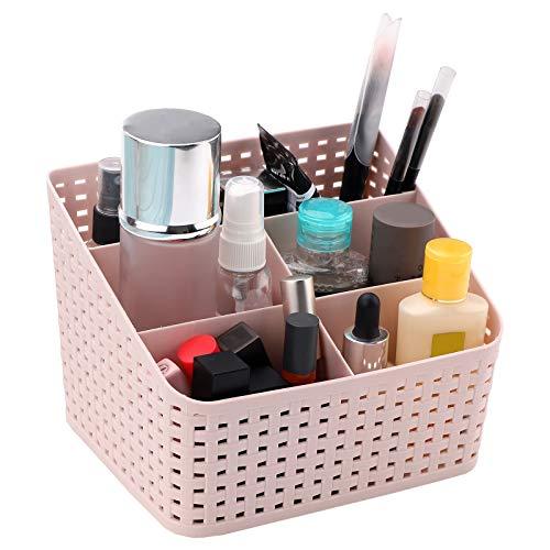 Cosmetische opbergdoos, make-updoos, organizer met 5 vakken, plastic kaptafel organizer, veelzijdige sorteerdoos, make-up opbergdoos, plastic make-upmand, cosmetica, desktop opbergdoos voor bureaus