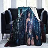 ḌC Lightweight Blanket with Jụsticẹ Lẹagụẹ Plush Throw Blanket Lightweight Cozy Couch Blankets Fuzzy Faux Fur Sherpa Throw for Couch Sofa Bed (80x60inch)