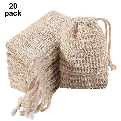 Trounistro 20 Pack Soap Exfoliating Bag Pouch Soap Saver Natural Ramie Soap Bag Hand Made Soap Bag Mesh Soap Saver Bags with Drawstring for Bath & Shower Use
