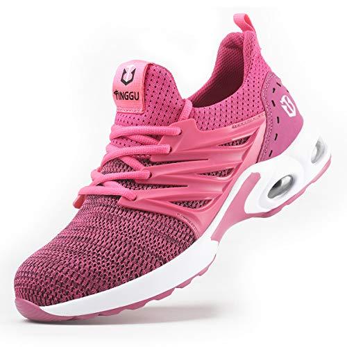 YISIQ Sicherheitsschuhe Herren Damen S3 Arbeitsschuhe Leicht sportlich Atmungsaktiv Schutzschuhe mit Stahlkappen Sneaker,09 Rosa,38 EU