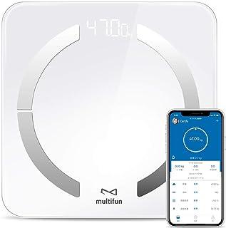 体重計 multifun 体脂肪計・体組成計 スマホ連動 体重BMIなど13種データ測定可能 Bluetooth対応 日本語APP&取扱説明書 ホワイト
