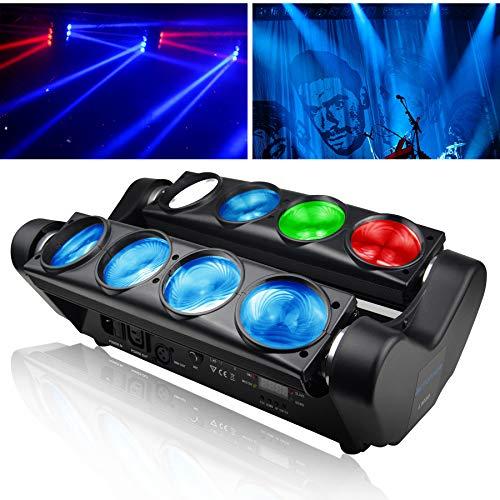 BETOPPER Spider Spot Moving Head Licht LED DJ Beleuchtung RGBW 8x8W DMX512 Bühnenlicht Mini Spider Lights für DJ Disco Party Lights Restaurant Live Konzert Beleuchtung