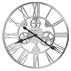 Howard Miller Mecha Oversized Wall Clock 625-678 – Cast Aluminum with Polished Finish, Decorative Metal Gears, Round Industrial Home Décor, Quartz Movement