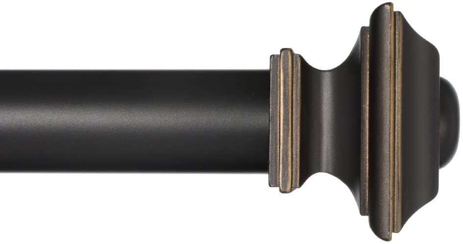 Ivilon Window Treatment Curtain Rod - Square Finials, 1 1/8 in Rod, 28 to 48 Inch, Antique Black