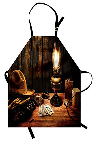 Lunarable Western Apron, Mystic Night in Hotel Room Dallas with Lantern Nightstand Table and Poker Card Design, Unisex Kitchen Bib Apron with Adjustable Neck for Cooking Baking Gardening, Brown